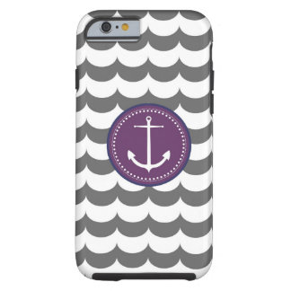 Purple and Gray Anchor with Waves Pattern Tough iPhone 6 Case
