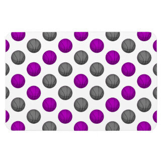 Purple and Gray Basketball Pattern Rectangle Magnet