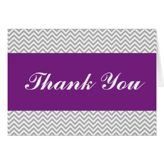 Purple and Gray Chevron Thank You Card
