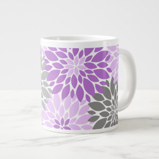 Purple and Gray Chrysanthemums Floral Pattern Large Coffee Mug