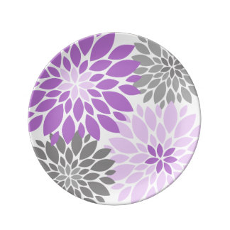 Purple and Gray Chrysanthemums Floral Pattern Porcelain Plate