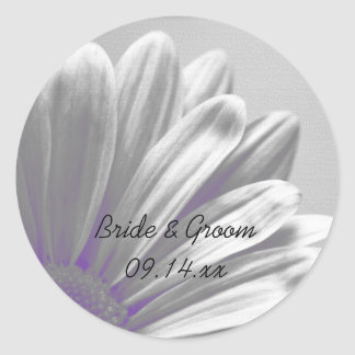 Purple and Gray Floral Highlights Wedding Round Sticker