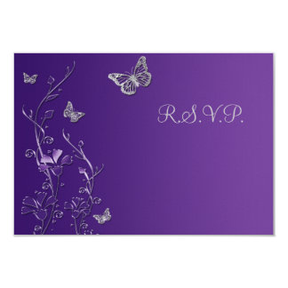 Purple and Gray Floral with Butterflies Reply Card 9 Cm X 13 Cm Invitation Card
