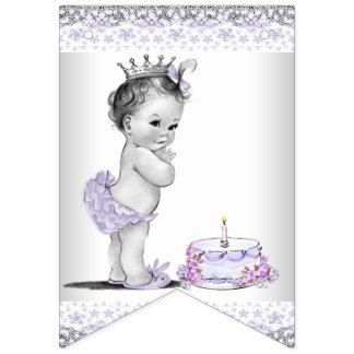 Purple and Gray Girls 1st Birthday Party Banner