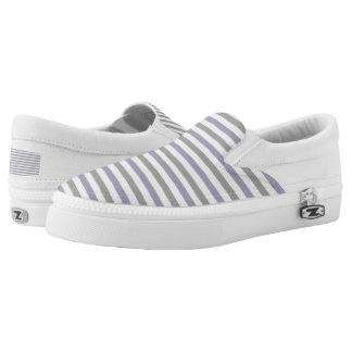purple and gray stripes printed shoes