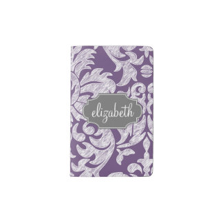 Purple and Gray Vintage Damask Pattern Monogram Pocket Moleskine Notebook