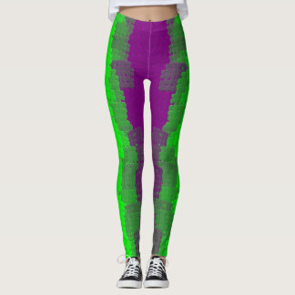 Purple and Green Abstract Art Leggings