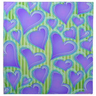 Purple and Green Abstract Hearts Cloth Napkins