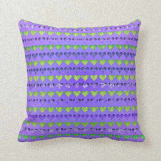 Purple and Green Abstract Hearts Throw Cushions