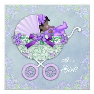 Purple and Green African American Baby Girl Shower 13 Cm X 13 Cm Square Invitation Card