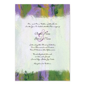 "Purple and Green Artistic Wedding Invitation 5"" X 7"" Invitation Card"
