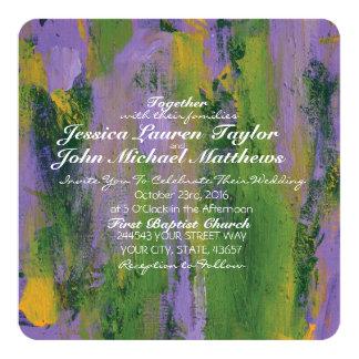 Purple and Green Artistic Wedding Invitation
