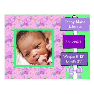 Purple and Green Baby Girl Birth Annoucnement Postcard