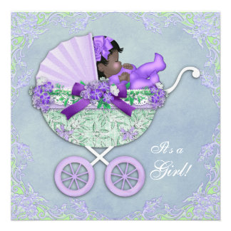 Purple and Green Baby Shower Invitations