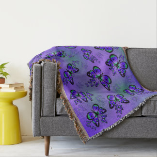 Purple And Green Butterflies Throw Blanket