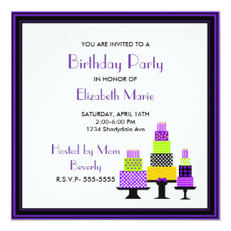 Purple and Green Cakes Birthday Party 13 Cm X 13 Cm Square Invitation Card