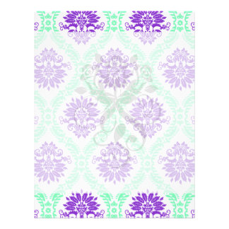 purple and green damask flyer design