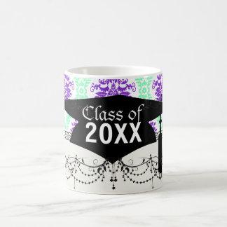 purple and green damask graduation coffee mug