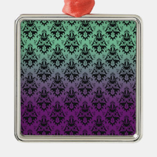 Purple and Green Damask Pattern Ornament
