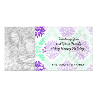 purple and green damask customized photo card