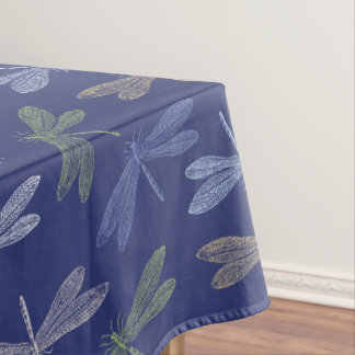 Purple and Green Dancing Dragonflies Pattern Tablecloth
