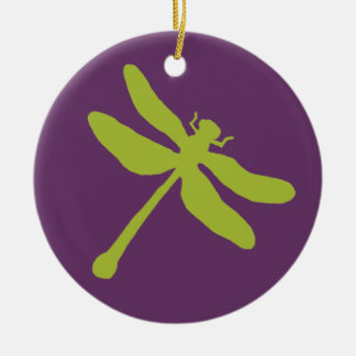 Purple and Green Dragonfly Christmas Ornament