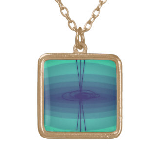 Purple and green ellipse design square pendant necklace