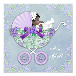 Purple and Green Ethnic Baby Shower 13 Cm X 13 Cm Square Invitation Card