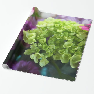 Purple And Green Floral Bouquet Wrapping Paper