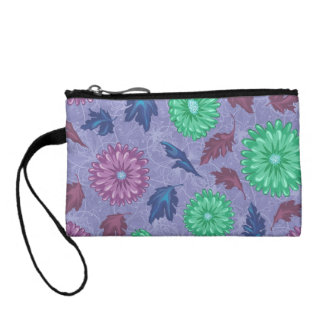 Purple and Green Floral Print Coin Purse