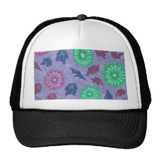 Purple and Green Floral Print Trucker Hats