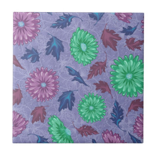 Purple and Green Floral Print Tiles