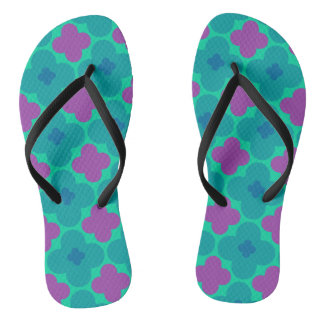 Purple and Green Flower Power Flip Flops