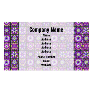 Purple and Green Fractal Collage Business Card Templates