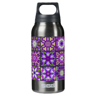 Purple and Green Fractal Collage Insulated Water Bottle