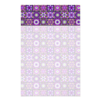 Purple and Green Fractal Collage Stationery