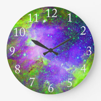 purple and green Galaxy Nebula space image. Clocks