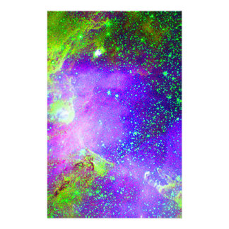 purple and green Galaxy Nebula space image. Personalised Stationery