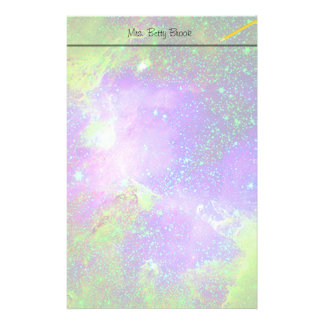 purple and green Galaxy Nebula space image. Stationery Design