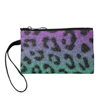 Purple and Green Glitter Gradient Cheetah Print Coin Purse