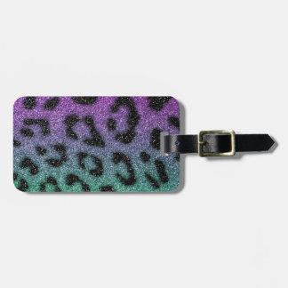 Purple and Green Glitter Gradient Cheetah Print Luggage Tag