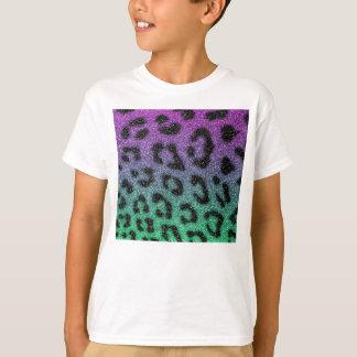 Purple and Green Glitter Gradient Cheetah Print T-Shirt