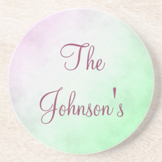 Purple and Green Gradient Personalize Drink Coaster