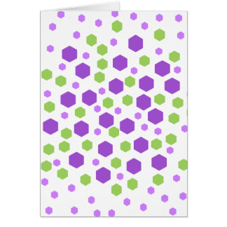 Purple and Green Hexagon Spots. Card