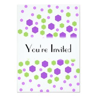 Purple and Green Hexagon Spots. 13 Cm X 18 Cm Invitation Card