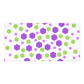 Purple and Green Hexagon Spots. Photo Card Template