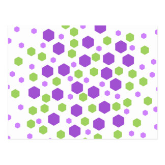 Purple and Green Hexagon Spots. Post Cards