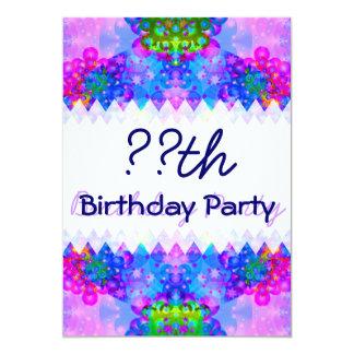 "Purple and Green Kaleidoscope Birthday 5"" X 7"" Invitation Card"