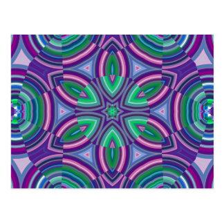 Purple and Green Kaleidoscope Design Postcards