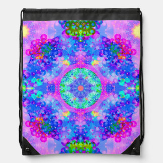 Purple and Green Kaleidoscope Fractal Art Drawstring Bag